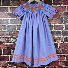 Smocked Auctions Pumpkin Dress Purple Gingham Girls Size 4 Boutique Halloween   eBay
