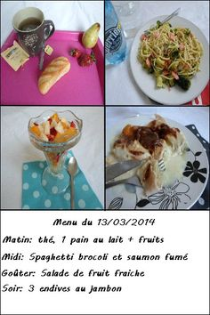 Mon menu weight watchers du 13/03/2014