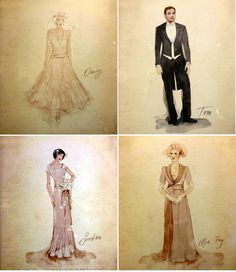 The Great Gatsby (2013) | Sketches for Daisy Fay's wedding party by designer/costumer Catherine Martin.