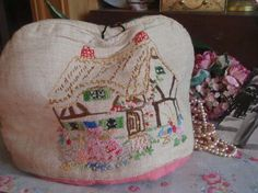 Vintage Shabby Chic Linen Tea Cozy Embroidered Crinoline Lady & Cottage Cosie