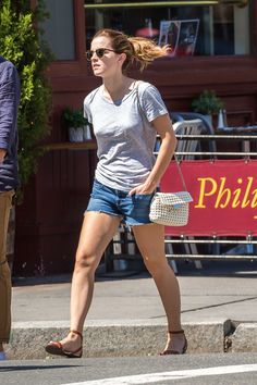 EMMA WATSON in Denim Shorts Out in New York 05/02/2017