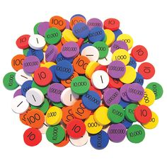 These easy-to-manipulate disks provide hands-on practice for developing number sense. Color-coded according to place value, the foam disks allow students to visually track what happens when they regro
