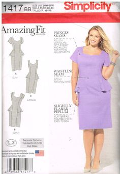 Simplicity 1417, Sewing Pattern, Womens Plus Size Dress by In K Designs For Amazing Fit Collection, Sizes, 20W-28W