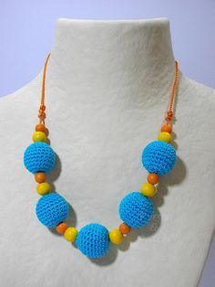 Necklace beads coated crochet  Collana di PyrosePatch su Etsy