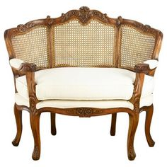 Check out this item at One Kings Lane! Jennifer Settee, Walnut/Cream