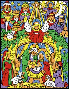 Colorful Nativity Color Your Own Advent Calendar | New Religious | Vermont Christmas Co. VT Holiday Gift Shop Artwork by Randy Wollenmann