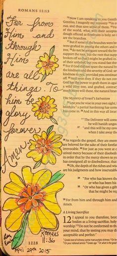 Easy Bible Art Journaling Journey: Romans 11:36 (April 29th)