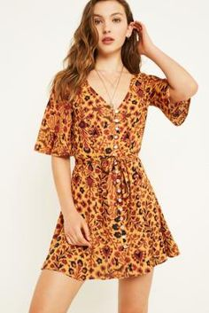 UO Daydream Mustard Floral Button-Through Dress   Urban Outfitters