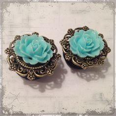 Pick Size  Rose  Antique bronze  Rose  Custom Plug earrings Rockabilly psychobilly pinup jewelry plugs. $15.00, via Etsy.
