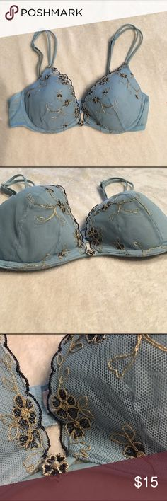 Victoria secret push up bra Victoria's Secret Angels push up light blue bra with flowers(navy blue and gold) detail on cups. Gently used. Excellent condition. Victoria's Secret Intimates & Sleepwear Bras