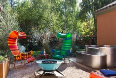 Stainless steel hot tub and, yes, whimsical is the right word, lawn chairs. This Whimsical Backyard Is Ready To Party Hot Tub Backyard, Swimming Pools Backyard, Backyard Patio, Menlo Park, Luxury Spa, Pool Designs, Amazing Gardens, Outdoor Decor, Outdoor Living