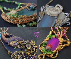 I Use Polymer Clay And Natural Stones To Create Art Nouveau Vintage Jewellery! | Bored Panda
