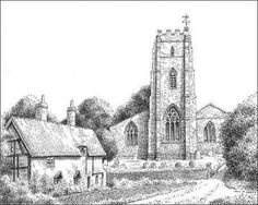 Lichfield , Staffordshire.  St. Chad's Church dating from the 13th century  stands by the Holy Well and upon the site of the Saxon Bishop's cell.  (drawn 1946)