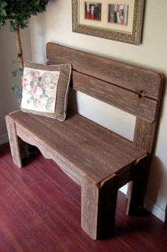 Bench, would be great for a foyer or back door.  Maybe box in the bottom with the seat as a lid, cld be shoe storage...