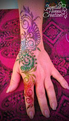 rainbow glitter swirl henna www.jamilahhennacreations.com