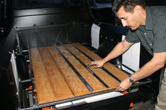 Building a bed wood sub frame designed to raise the boards is an easy way to clear the rear end housing of a lowered truck. Images & Text by Steve Stillwell Whether your slammed truck is equipp… Lowered Trucks, Lifted Ford Trucks, Chevy Trucks, Chevy Pickups, 1951 Chevy Truck, Truck Flatbeds, Land Rover Defender Interior, Land Rover Defender 110, Custom Truck Parts