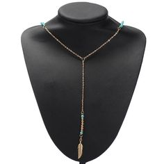 Sale 26% (1.46$) - Bohemian Gold Silver Turquoise Beaded Feather Tassel Pendant Necklace