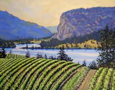 Above Vaseux Lake; oil painting of McIntyre Bluff near Oliver, BC; oil painting of vineyards in Okanagan valleyre
