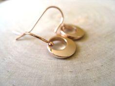 Rose gold earrings Fall fashion Circle geometric by Vitrine, $26.00