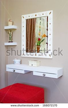 dressing table corner for small space in brown room interior closeup