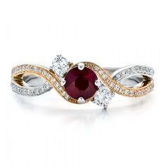 Custom Engagement Rings | Custom Ruby and Diamond Engagement Ring | Joseph Jewelry Seattle ...