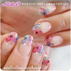 Flower tips, watercolours Simple Nail Art Designs, Beautiful Nail Designs, Cute Nail Designs, Beautiful Nail Art, Cute Nails, Pretty Nails, Nail Polish Art, Japanese Nails, Nagel Gel