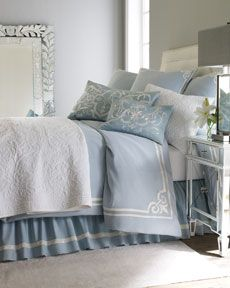 "Modern Classics - Pine Cone Hill ""Oceanus"" Bed linens.   Blue and white with gray and mirrored accents."