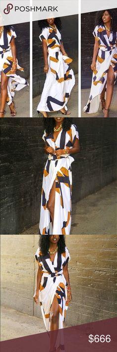 White Geometric Pattern Maxi Size Dresses Maxi