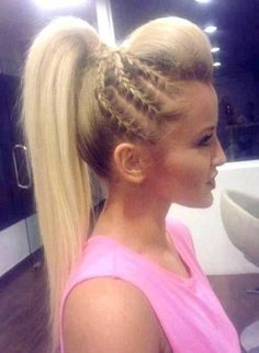 Pretty Braided Hairstyle for Summer - PoPular Haircuts Gorgeous hair braiding ideaGorgeous hair braiding idea Pretty Braided Hairstyles, Braided Ponytail, Mohawk Ponytail, Teased Ponytail, Ponytail Bump, Braided Mohawk, Braided Cheer Hair, High Ponytail With Braid, Cheer Hair Poof