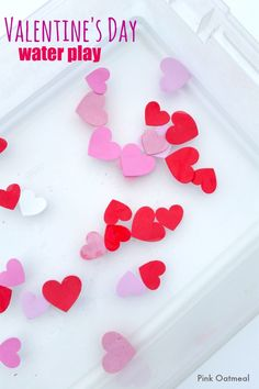 Valentine's Day Water Play - Fun idea for home, school, or therapy! Perfect for Valentines Day sensory play!