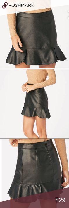 Faux Leather Skirt Super cute flutter hem detail faux leather skirt. JustFab Skirts Mini
