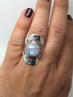 sterling silver ringmoonstone ringmoonstone by koraljewelry