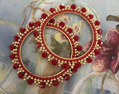 Large Red and Gold Crystal Seed Bead Hoop Earrings Beaded Jewelry Crystal Earrings by WorkofHeart on Etsy Seed Bead Bracelets Tutorials, Beaded Bracelets Tutorial, Beaded Bracelet Patterns, Beading Tutorials, Jewelry Patterns, Beading Patterns, Beaded Jewelry, Beading Ideas, Jewelry Ideas