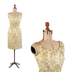 e8524dba877 Vintage 60s Silver + Gold Metallic Lurex Floral Brocade Hourglass Cocktail  Dress  Unbranded  Cocktail