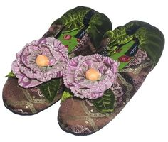Goody Goody Women's Peony Silk / Suede Slippers ** Check out the image by visiting the link.