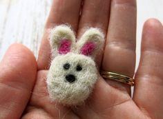 Needle felted brooch - rabbit felted brooch - bunny pin - fibre pin - needle felted pin - animal  brooch - clothing accessory - uk seller on Etsy, $12.40