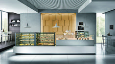 See display case used for gelato / ice cream cakes, deli / pastry, meat / charcuterie, and self serve beverage. Bakery Decor, Bakery Interior, Bakery Display, Wine Display, Cafe Interior Design, Bakery Shop Design, Store Design, Coffee Bar Design, Food Kiosk