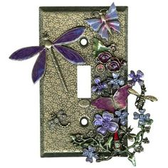 NEW KIRKS FOLLY FAIRY GARDEN LIGHT SWITCH PLATE GOLDTONE
