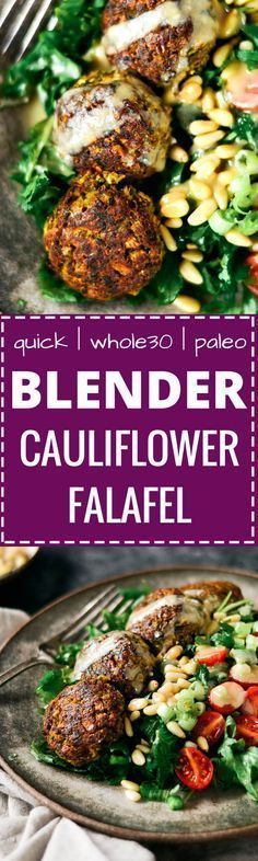 These warm flavorful falafels are better than the real deal! Packed with cauliflower and fresh herbs! A low carb delicious whole30 meal that is easily made in a blender. Easy baked falafel recipe. Best paleo falafel recipes. Falafel sauce. Healthy falafel