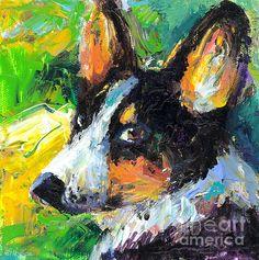 Colorful Welsh Corgi dog portrait painting by Svetlana Novikova, www.SvetlanaNovikova.com