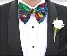 Marvel Comic Superheroes Bow Tie Faces Licensed Fabric