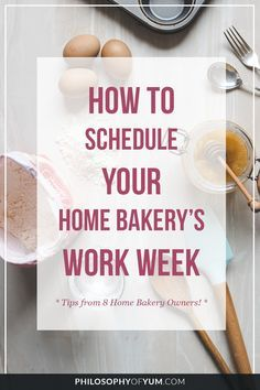 Learn how to plan your Home Bakery's work schedule for optimal efficiency and profit, without burning out or neglecting your family 🙂 Bakery Business Plan, Baking Business, Catering Business, Cake Business, Business Ideas, Business Planner, Business Marketing, Content Marketing, Internet Marketing