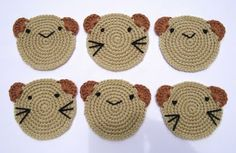 {Crochet Bear Coasters} These are so adorable, and you can adjust the pattern to make a hot pad! Going to make this one for winter get-togethers :)
