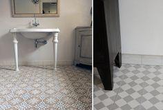 Badrumsinspiration: Fransk romantik och vackert cementgolv - Sköna hem