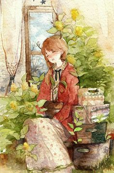 Time era too fast too soon, I like to keep up with me holding my Zhilie that did not seem to have been burnt so-called Young ineffectively s . Manga Watercolor, Watercolor Illustration, Pretty Art, Cute Art, Wow Art, Anime Art Girl, Manga Art, Cartoon Art, Cute Drawings