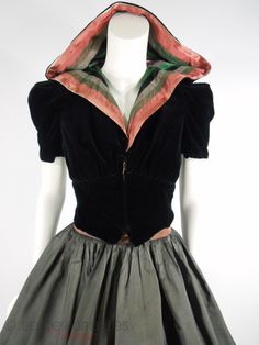 Vintage 30s Dramatic Hooded Velvet Jacket With Striped Lining and Full-Circle Skirt    http://www.betterdressesvintage.com/products/30s-jacket-and-circle-skirt-set-sm