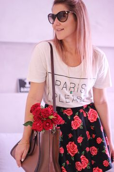 Street Style, Look, Outfit, Lady like, skirt, flower, rose, heart, Paris PleaseIMG_8070 copy