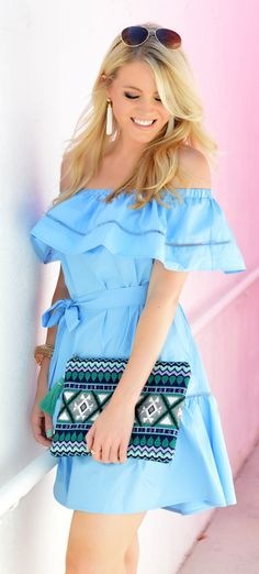 #summer #outfits Blue Off The Shoulder Ruffle Dress + Printed Clutch