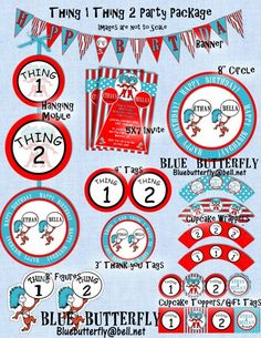 Dr Seuss Thing 1 Thing 2 Party Package With Invitation. All Printable
