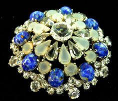 Vtg 1965 Christian Dior Germany Rhinestone Art Glass Cabochon Domed Brooch Pin  | eBay